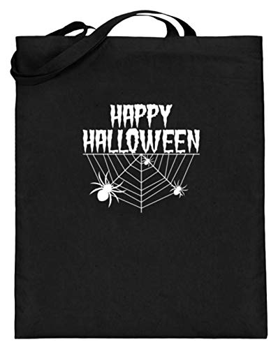 SPIRITSHIRTSHOP Happy Halloween - Spinnennetz und Spinne - Jutebeutel (mit langen Henkeln) -38cm-42cm-Schwarz