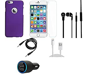 NIROSHA Tempered Glass Screen Guard Cover Case Car Charger Headphone USB Cable for Apple iPhone 6Plus - Combo