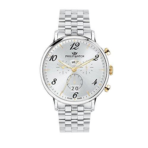 PHILIP WATCH Reloj Cronógrafo para Hombre de Cuarzo con Correa en Acero Inoxidable R8273695002