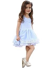 Vestido Niña, K-youth® Lindo Rayas Vestido para Niñas Sin Mangas Casual Princesa