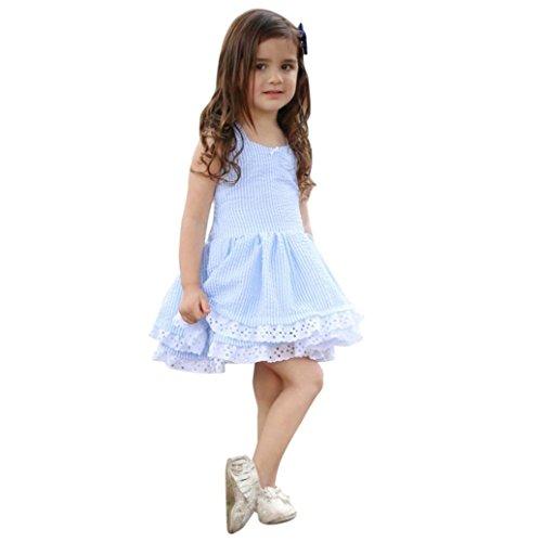 K-youth Vestido Niña, Lindo Rayas Vestido para Niñas Sin Mangas Casual Princesa Vestir Infantil de Fiesta Verano (Azul, 4-5 años)
