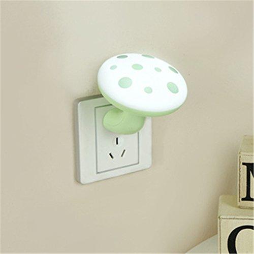 XIAOBIDENG Light Control Nachtlicht Lichtsensor Energieeinsparung Plug Bett Pilz Lampe Innen Schlafzimmer Nachttischlampe kreative Kinder Grüne Led (Lampen Hello Für Schlafzimmer Kitty)