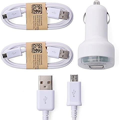 XCSOURCE® 2pcs Micro USB Data Sync Cable + Cargador de Coche Auto para Teléfonos Celulares Samsung Galaxy S3 S4 Nota2 LG Sony HTC Blanco BC303