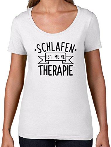 Schlafen ist meine Therapie - Damen T-Shirt mit Rundhalsausschnitt- Weiß - XL