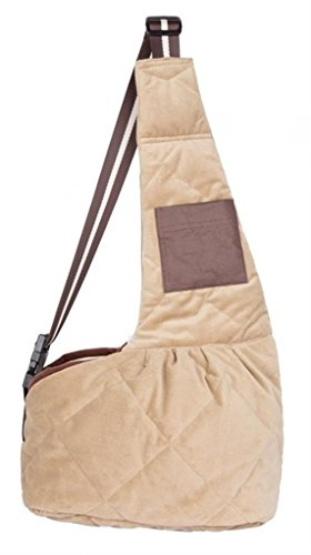 Evergreens Waterproof Quilted Short Plush Pet Dogs Sling Carrier Bag Brown L 1