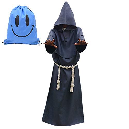 Disfraz de Monje Sacerdote Túnica Medieval Renacimiento Traje con Cruz para Halloween Carnaval (M, Gris)