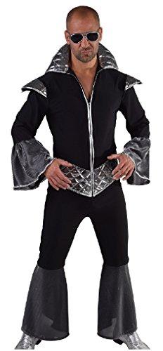 M216225-S schwarz-silber Herren Disco Anzug Partykostüm Disco King Gr.S