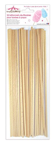 Scrapcooking 5187 Set de 25 Bâtonnets pour Barbes à Papa Bois de hêtre Beige 34 x 11 x 1 cm