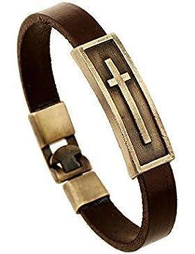 Tasmine Retro Cruz Jesús marrón soporte de pulsera de cuero