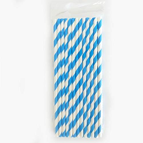 guantongda Superior 100 Bunte Papierhalme, klassisch, gestreift, für Geburtstag, Party, Trinkdekoration, in feinem Stil Light Blue Stripes Light Blue Dessert