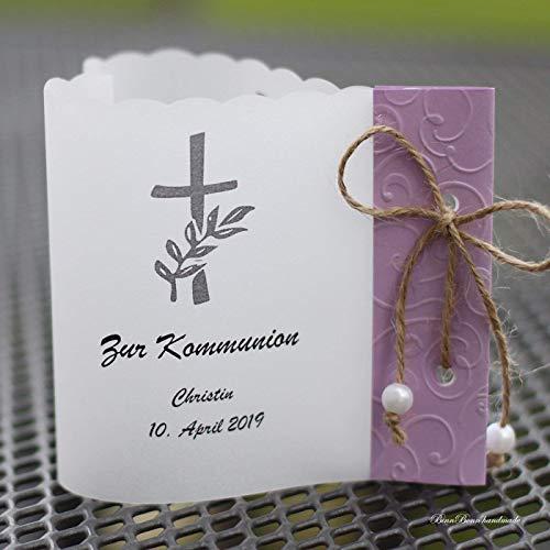 10 personalisierte Lichthüllen Windlichter für Tischlicht Tischdeko zur Taufe Kommunion Konfirmation Herzform Kreuz flieder Handarbeit binnbonn