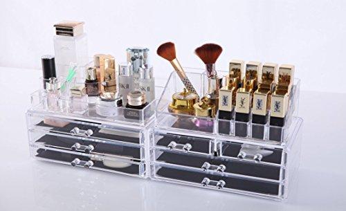 Oule GmbH Kosmetik Aufbewahrung Organizer 4 in 1 Make-Up Schmuck-Box Klar MIT 7 Schubladen 8 Ebenen (Make-up Box Acryl)