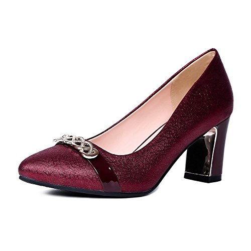 AllhqFashion Femme Cuir de Bœuf Pointu Couleur Unie Tire Chaussures Légeres Rouge Vineux