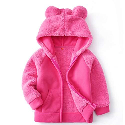 Dasongff Baby Mädchen Jungen Kurz Kapuzenjacke Fleece Teddyfell Warm Gefüttert Winter Mantel Übergangs Jacke mit Kapuze für Kleinkinder Neugeborene Frühling Herbst