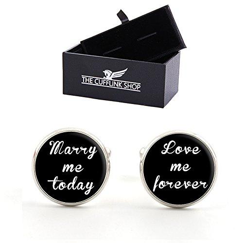 Boutons de manchette de mariage avec boite-cadeau de luxe MARRY ME TODAY