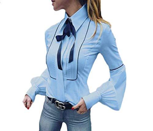 Bluse Damen Elegant Herbst Frühling Langarm Mode Blusen Revers Mode Marken Basic Hemd Plissee Kontrastfarbe Regular Fit T-Shirt Hemden (Color : Hellblau, Size : M) -