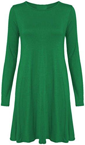 Damen Kleid in Übergrößen ausgestelltes langes Swing Kleid Jadegrün