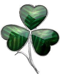 Hecho a mano de cristal fino esmaltado del trébol célticos rodio plateado broche verde