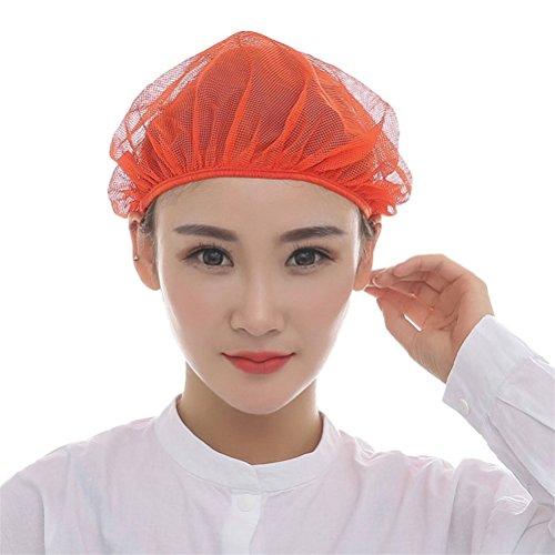 Unisex Arbeitsmütze Haarnetz elastisch Werkstatt Industrie atmungsaktiv Staubmütze 5 Stück Nanxson(TM) CF9023 (Orange) (Uniform Chef Frauen)