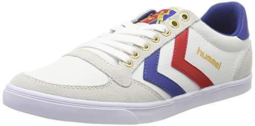 hummel Unisex-Erwachsene Slimmer Stadil Low Sneakers, Weiß (White/Blue/Red/Gum), 48 EU (12.5 Erwachsene UK)