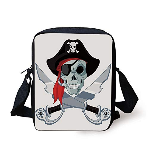 LULABE Pirate,Skull of Criminal Rogue Eye Patch Headscarf Iconic Hat Crossed Knifes Daggers,Black Grey Red Print Kids Crossbody Messenger Bag Purse - Rogue Pirate