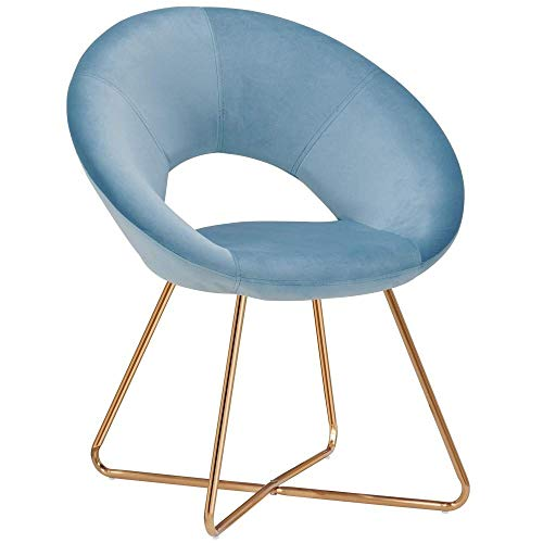 SHATANQ Duhome Esszimmerstuhl Stoff (Samt) Stuhl Empfang Konferenzstuhl Herausragendes Design Metall Beine Farbauswahl,Blau,Hlh