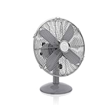 Swan Grey Retro 12 Inch Desk Fan, 35 W, 3 Speed Settings, Oscillation Function, Low Noise Levels, Adjustable Tilt, Provides Efficient Air Flow, 12 Inch Diameter, 1.8 m Cord, SFA12620GRN