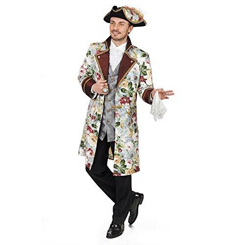 Gehrock Herren Kostüm - Elbenwald Ludwig Barock Gehrock mit Weste Kostüm Herren mit Blumenprint zum Karneval - 54/56