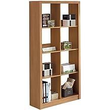 Estantería o librería Jobs de 93x182 8 espacios, para despacho o oficina, cerezo