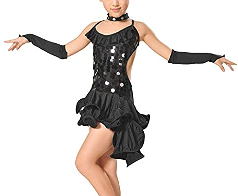 Feoya - 10-11ans Noir Robe Danse Costume Latine Dos Nu Robe Courte sans Manche Robe Danse Sportive Salsa Robe Asymétrique