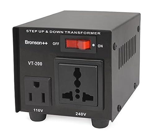 Bronson++ VT 200 Watt Transformateur / USA 110 Volt Converter / Convertisseur de tension 110 /120 V - 220 / 240 V réversible 200W - Bronson