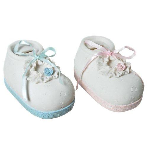 Spardose Baby Schuh in rosa oder blau Taufe Geburt