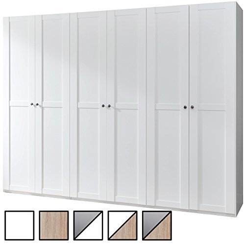 Kleiderschrank YORK mit 6 Türen, Drehtürenschrank Landhaus-weiß 270x236x58