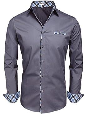 HOTOUCH Uomo Manica Lunga Camicia Casuale di Cotone Modo con Revers Classica