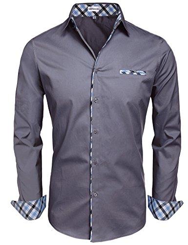 Hotouch uomo camicie grigio basic slim fit maniche lunghe di cotone modell m