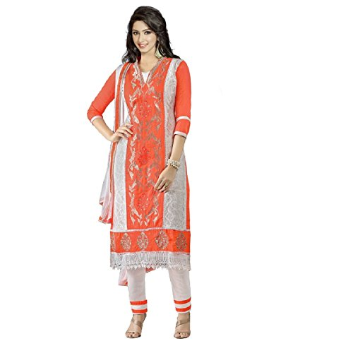 Ramapir Fashion Women's Orange and White Colour 3/4th Sleeves Pure Cotton Heavy Nazmin Embroidery Salwar Suit
