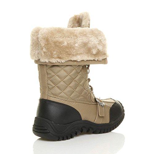Donna basso inverno neve stringhe pelliccia stivali polpaccio caviglia taglia Cammello marrone chiaro trapuntata