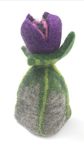 Tulpe Blüte (Filzblume Eierwärmer aus Filz lila Blüte Tulpe Handarbeit Geschenk für Ostern Muttertag Valentinstag)