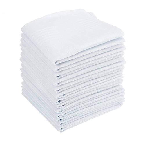 BUYGOO 15PCS Herren Taschentücher Baumwolle - Stofftaschentücher 40 x 40cm Taschentücher Stoff Herren in weiß, Große Einstecktücher für Männer