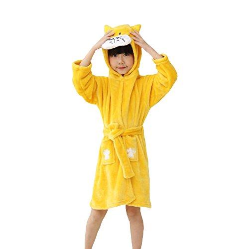 oamore Kinder Einhorn Bademantel Morgenmantel mit Kapuze Robe Nachtwäsche Schlafanzug Cosplay Kostüme Tier Ankleiden (Yellow Cat, 110cm)