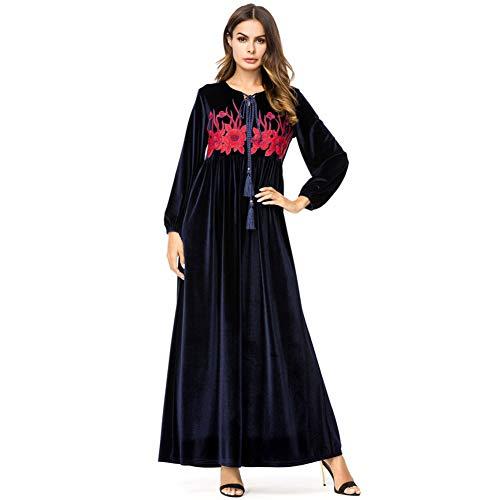 QAQBDBCKL Velour Muslim Abaya Kleid Stickerei Samt Kaftan Herbst Winter Islamische Muslim Party Kleider Arabische Roben -