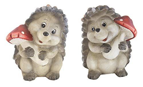 Porzellan Stein (DARO DEKO Keramik Figur Igel mit Pilz A und B - 2 Stück)