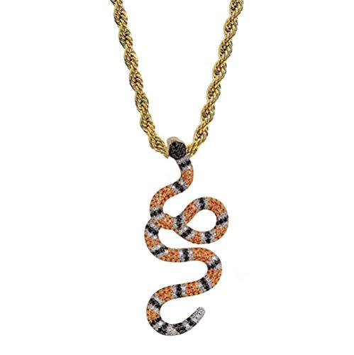 WJMSS Farbe Schlange Anhänger Halskette Männer und Frauen 3A Zirkon Zubehör Hip Hop Schmuck und Geschenkbox für Valentinstag Freunde,Orange