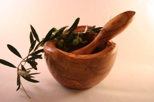 Mörser und Stößel 20 cm rustikalen-aus olivenholz