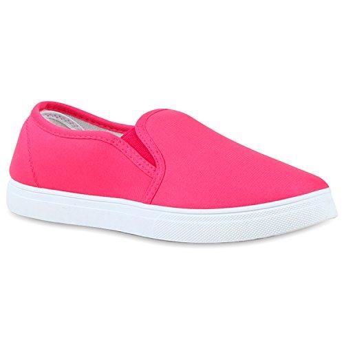 Damen Sneakers Slipper Slip-ons Glitzer Skaterschuhe Flats Pink Pink