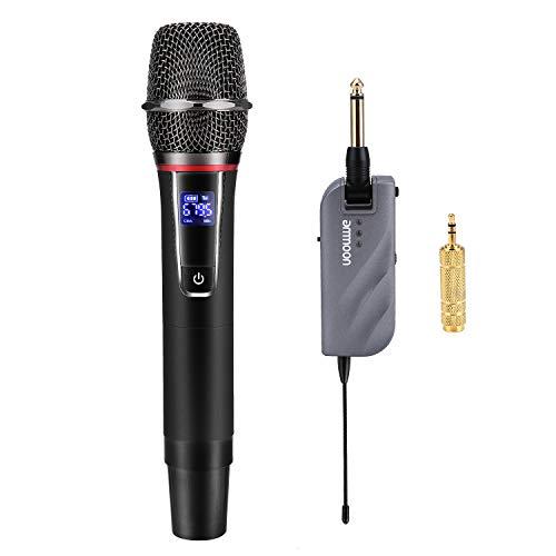 ammoon Microfono Wireless , Set di Micro Sistema Senza Fili Handheld a 10 Canali UHF con Mini Ricevitore Portatile Per Chiesa Casa Intrattenimento Karaoke Incontri d'affari Discorso