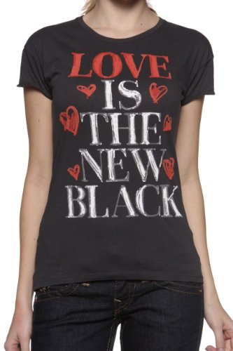 Magazzini del Este Damen Shirt Motiv T-Shirt Love is The New Black, Farbe: Anthrazit, Größe: XS