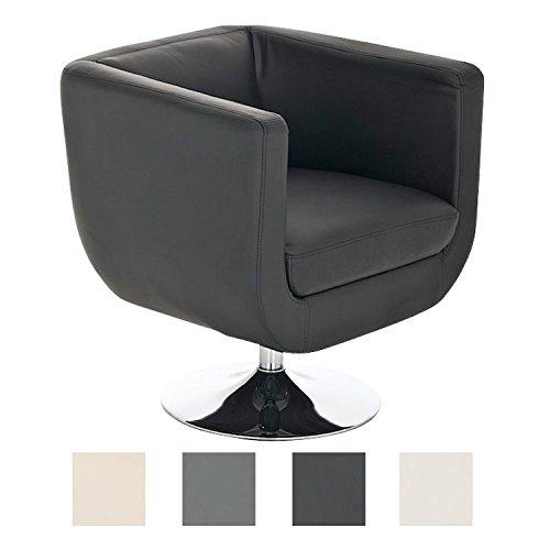 CLP Lounger Colorado V2 mit Kunstlederbezug I Gepolsterter Cocktailsessel mit Metallgestell in Chrom-Optik I Drehbarer Sessel mit Trompetenfuß Schwarz