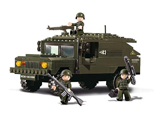 Lego-sets Weltkrieg (Funstones - Baustein Set Army Armee SUV Geländewagen Fahrzeug + Soldaten Bausteine Bausatz Set)
