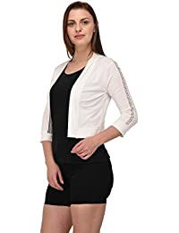 Espresso Women 3/4th Sleeve Open Cardigan with Floral Lace Insert on Sleeves